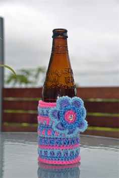 Pink Purple & Blue Crocheted Stubbie Cooler/Bottle Cosy/Koozie with flower