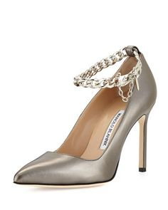 BB+Leather+Pump+with+Chain+Strap,+Anthracite+by+Manolo+Blahnik+at+Neiman+Marcus.