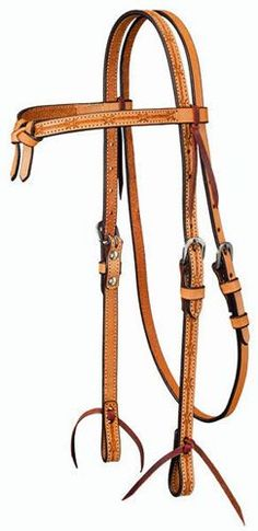 Tough-1 Leather Futurity Browband Headstall - Barbwire Stamped Tool | ChickSaddlery.com