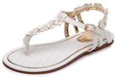 Odema Women Summer Bohemia Flower Beads Beach Flat Sandals >>> Find out more about the great product at the image link.
