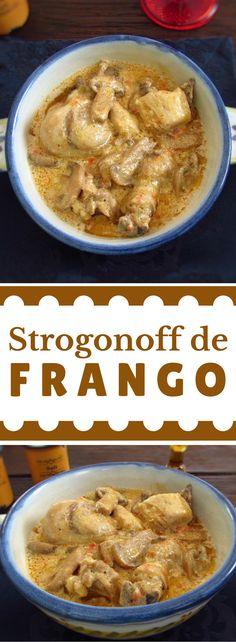 Strogonoff de frango | Food From Portugal. Para variar as suas receitas de frango recomendamos esta receita de strogonoff de frango. Prato muito saboroso com um molho bastante cremoso, uma delícia… #receita #frango #strogonoff