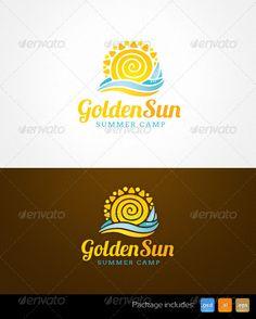Golden Sun Summer Camp Resort Logo Template