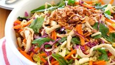 Asian Slaw is a crunchy Asian salad with shredded vegetables, fresh herbs and a great Asian Dressing. Great side for all Asian foods - and lasts for days! Asian Chicken Salads, Chicken Salad Recipes, Healthy Salad Recipes, Delicious Recipes, Healthy Foods, Healthy Eating, Crunchy Asian Salad, Asian Slaw, Asian Cabbage Salad