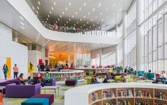 Snøhetta, Clark Nexsen, NCSU Libraries, In July the new James B. Library at North Carolina State University, designed by Snøhetta in collaboration with local architect Clark N Main Library, Kids Library, Library Design, Library Room, Library Ideas, Shanghai, Academic Success Center, Nc State University, The Learning Experience
