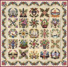 American Album Quilt  block by P3Designs - American Album quilt series - cotton applique