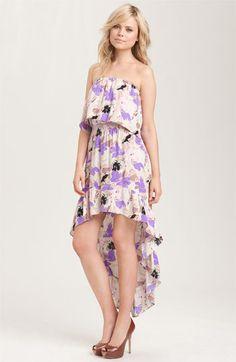 Parker - Strapless Floral Silk Cascade Dress
