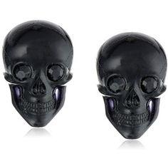 "Tarina Tarantino ""Classic"" Black Lucite Skull Post Earrings"