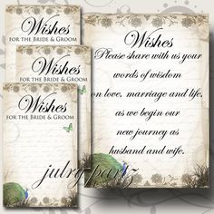 SET of Wedding Wish Sign and Tags Wish Tree Cards by JulryPartZ, $5.00