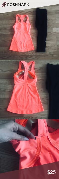 Lululemon t bAck seamed tank Super cute coral top with padded cups. In very good condition . No trades. lululemon athletica Tops Tank Tops