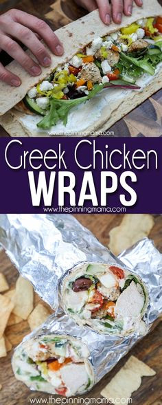 Our Guest RAVED about these! LOADED Greek Chicken Wraps- These are such a great easy lunch or dinner and perfect for company since everyone can assemble their own. #lunch #dinner #chicken #easyfamilyrecipes