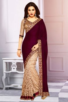 Velvet and Net and Brasso Party Wear Saree in Beige and Magenta Colour