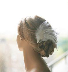 Bridal Hair Flower Headpiece. Feather Bridal by lolaandmadison, $98.00