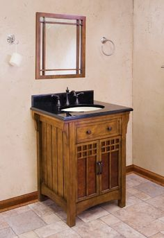 Westcott Wright Mission Bathroom Vanity With Mica Glass In Doors X X Arts  And Crafts Bathroom Cabinet. American Classic Furniture Vanity Of Birch  Solids And ...