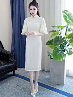 Sweeter Chiffon Qipao / Cheongsam Dress with Kimono Sleeve