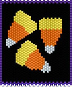 BEADED BANNERS PAGE 3 Beading Patterns Free, Bead Loom Patterns, Peyote Patterns, Cross Stitch Patterns, Halloween Art Projects, Halloween Beads, Beaded Banners, Pumpkin Pillows, Decoration Home