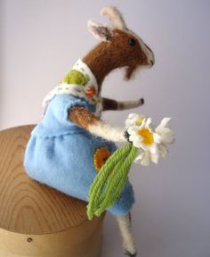 Needle Felted Animal Nanny Goat with Daisies by MissBumbles, $75.00