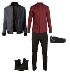 """""""Outfit1"""" by keeshafrancois on Polyvore featuring Vivienne Westwood Anglomania, Giorgio Armani, LE3NO, Timberland, men's fashion and menswear"""