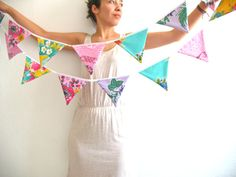 Oilcloth bunting one in a kind  The pastel garland with by Vebo