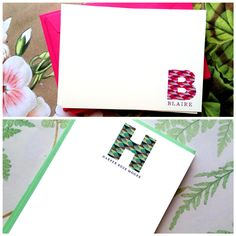 giveaway Geo-Initial note cards