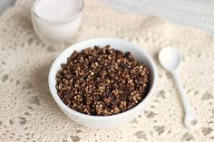 Healthy Cocoa Crispies Cereal 1 c. raw buckwheat groats 3 T. cocoa powder 6 T. maple syrup ½ t. sea salt 1 t.vanilla
