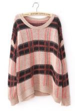 Red Round Neck Long Sleeve Plaid Pullovers Sweater $40.4
