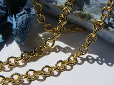 Gold plated diamond cut cable chain 1 meter by Olablingola on Etsy, $2.50