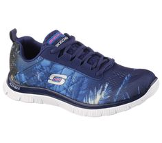 Add some tropical fun to your workout with the SKECHERS Flex Appeal - Trade Winds shoe.  Soft woven Skech Knit Mesh upper in a lace up athletic training sneaker with tropical print, Memory Foam insole and flexible outsole.