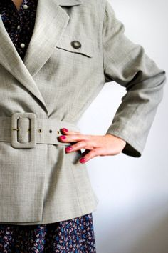 Escada jacket gray blazer woman vintage escada clothing business blazer elegant feminine trendy on Etsy, kr Gray Jacket, Suit Jacket, Gray Blazer, Hello Summer, Daily Look, Blazers For Women, Perfect Match, Vintage Designs, Vintage Ladies