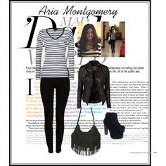 Aria Montgomery- shirt and pants only, not bag, jacket or shoes