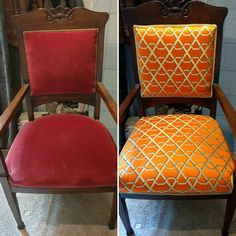 Meubelstoffering voor en na. Upholstery before and afther.