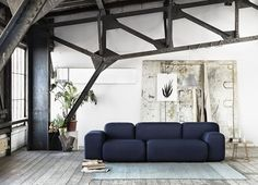 La maison d'Anna G.: Soft Blocks by Muuto. Industrial. Design. Steel Frame. Living Space. Couch. Black and White. Modern. Apartment. Home.