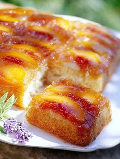 Peach Upside-Down Cake. Peach slices and brown sugar form a moist base for the tender, square cake—and when flipped over, that base becomes the topping. Yum!