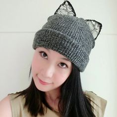 Sequined Dark Gray Cat Ears Shape Decorated Simple Design Wool Knitting Wool Hats :Asujewelry.com