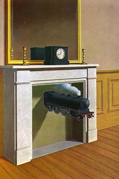 Tableaux sur toile, reproduction de Magritte, Time Transfixed, 146x97cm