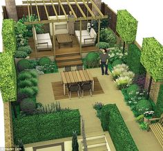 Lifestyle: Ace your space Lifestyle: Ace your space,Landscape THE ARTIST'S IMPRESSION Stephen designed four zones: the first being the entry to the garden; the second its new staircase from the basement level; Garden Design Plans, Modern Garden Design, Landscape Design, Terrace Garden Design, Roof Garden Plan, Small Garden Plans, Landscape Architecture Drawing, Contemporary Landscape, Backyard Patio Designs