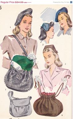 SALE 1940's Womens Beret Drawstring Purse or door Sutlerssundries, $24.49