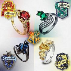 Ok I'm a Hufflepuff, but the Slytherin and especially the Ravenclaw ones look beautiful Harry Potter Ring, Bijoux Harry Potter, Hery Potter, Harry Potter Schmuck, Estilo Harry Potter, Décoration Harry Potter, Harry Potter Merchandise, Harry Potter Outfits, Harry Potter Engagement Ring