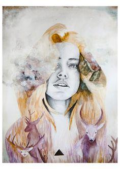 Chica con ciervos y paisaje ilustración por naranjalidad en Etsy