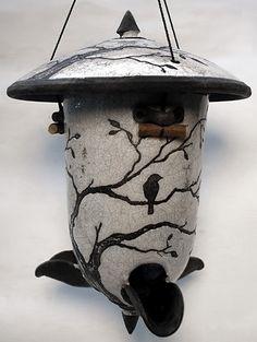 """ 2 Birds in a Tree ""—   Raku Bird Feeder' by ringoffire pottery"