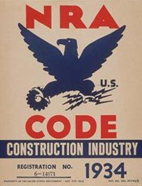 National Recovery Administration poster: The NRA was created in 1933 as a keystone of Roosevelt's New Deal program. It aimed to set standards for production, prices, and wages in every industry.Although declared unconstitutional in 1935, the NRA opened the door for ever-increasing federal oversight of the economy.