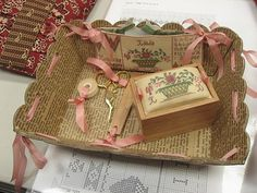 lovely basket and pincushion box with needlepoint!