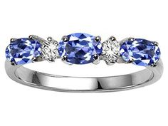 Tommaso Design(tm) Oval 5x3mm Genuine Tanzanite and Diamond Ring Band in 14 kt White Gold Size 6 | Your #1 Source for Jewelry and Accessories