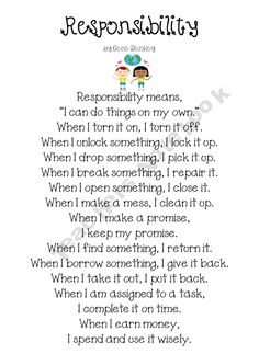 Responsibility Poem and writing activity
