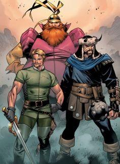 Marvel Snapshot: Character Spotlight: The Warriors Three (Asgard) Marvel Comic Universe, Marvel Comics Art, Marvel Heroes, Avengers Comics, Comics Universe, Comic Book Artists, Comic Artist, Comic Books Art, Young Guns