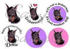 60 Doberman stickers envelope seals scrap booking