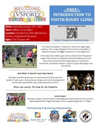 FREE Introduction to Youth Rugby Clinic Flyer