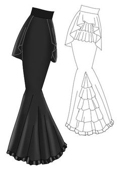 BlacFlounced Bustle Back Fishtail Skirt