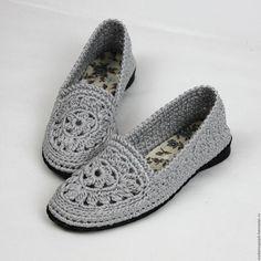 Обувь ручной работы. Ярмарка Мастеров - ручная работа. Купить Туфельки Балетки вязаные серые. Handmade. Балетки, вязаная обувь