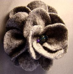 grey felted wool flower