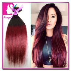 HOT Sale xpression ombre braiding Human Hair Extensions 3 Pcs 1B Burgundy Straight Hair Two Tone Mongolian Hair Weave Luxy Hair US $60.69